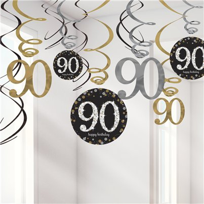 Sparkling Celebration Age 90 Hanging Swirls - 45cm