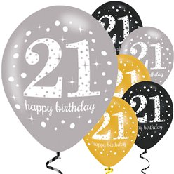 Happy 21st Birthday Gold Mix Sparkling Celebration Balloons - 11