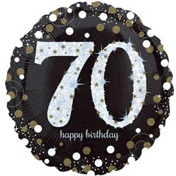 "Happy 70th Birthday Gold Sparkling Celebration Balloon - 18"" Foil"