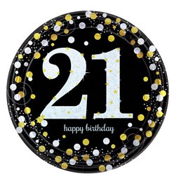 Sparkling Celebration Age 21 Plates - 23cm Paper Party Plates