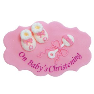 Girl's Christening Sugar Plaque Cake Decoration