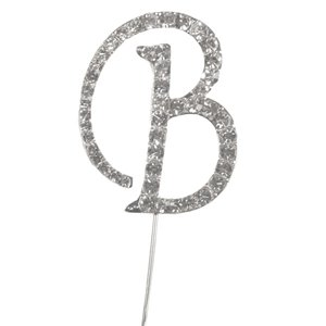 Letter B Diamante Cake Pick