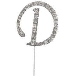 Letter D Diamante Cake Pick