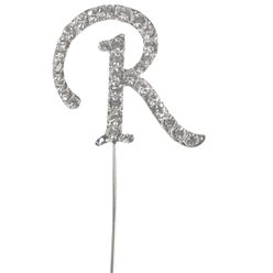 Letter R Diamante Cake Pick
