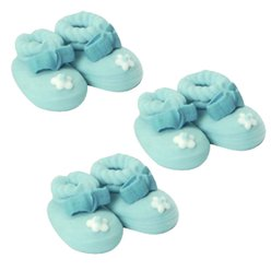 Blue Booties Sugar Toppers - Cake Decorations