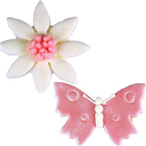 Pink Butterflies & Daisies Sugar Toppers