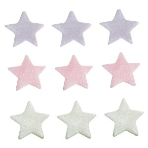 Lilac, Pink & White Star Sugar Cake Toppers - 9pk