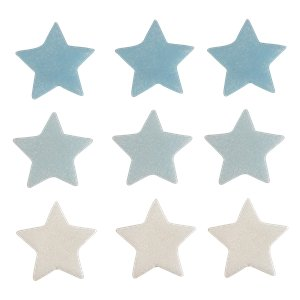 Blue, Silver & White Stars Sugar Toppers