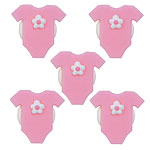 Pink Baby Grow Sugar Toppers - Cake Decorations