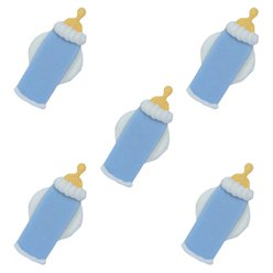Blue Baby Bottle Sugar Toppers - Cake Decorations