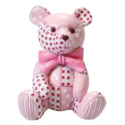 Pink Patchwork Teddy Cake Topper Figure