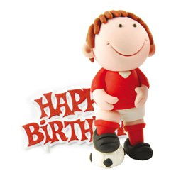 Red Footballer Cake Topper Figure
