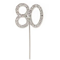 80th Birthday Diamante Cake Pick