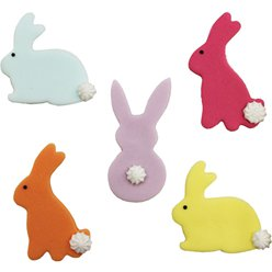 Bunny Rabbit Sugar Cake Toppers - 5pk