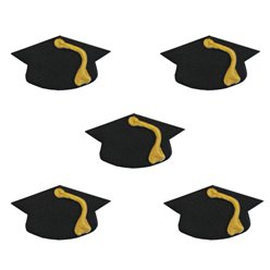 Mortarboard Hat Sugar Decs 5pk (Small Decoration)