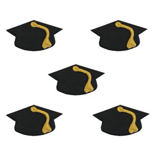 Graduation Cap Sugar Cake Toppers - 5pk