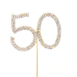 50th Birthday / Anniversary Diamante Cake Pick