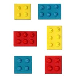 Building Blocks Sugar Cake Toppers - 6pk
