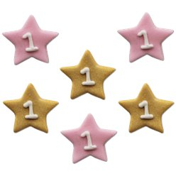 One Little Star Pink Sugar Cake Toppers - 6pk