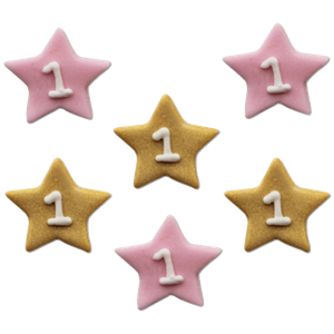 One Little Star Pink Sugar Toppers