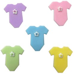 Pastel Mix Babygrow Sugar Toppers - Cake Decorations