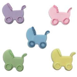Pastel Mix Babys Pram Sugar Toppers - Cake Decorations