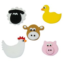 Farmyard Friends Sugar Cake Toppers - 5pk