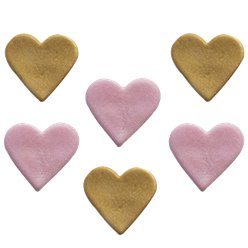 Shimmer Gold Heart Sugar Toppers - Cake Decorations
