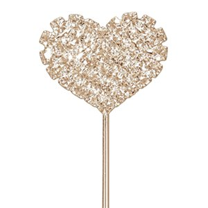 Rose Gold Diamante Heart Cake Pick - 2.5cm