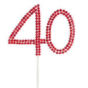 Red 40th Birthday / Anniversary Diamante Cake Pick