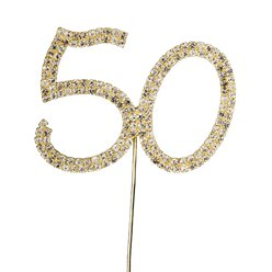 Gold 50th Birthday / Anniversary Diamante Cake Pick