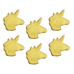Shimmering Gold Unicorn Sugar Toppers - Cake Decorations