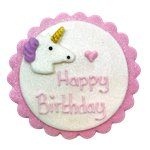 Shimmering Unicorn Sugar Plaque - Cake Decoration