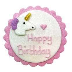 Unicorn 'Happy Birthday' Sugar Cake Plaque
