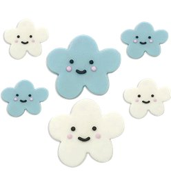 Happy Clouds Sugar Cake Toppers - 6pk