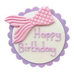 Mermaid Tail Happy Birthday Sugar Plaque - Cake Decoration