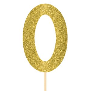 Number 0 Large Gold Glitter Pick - 36cm