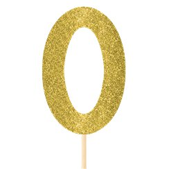 Number 0 Large Gold Glitter Pick