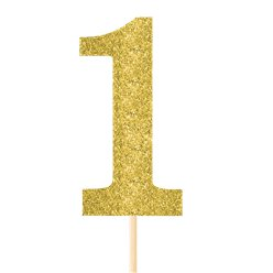 Number 1 Large Gold Glitter Pick - 36cm