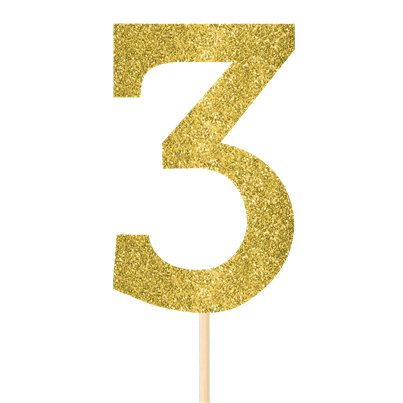 Number 3 Large Gold Glitter Pick - 36cm