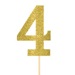 Number 4 Large Gold Glitter Pick - 36cm