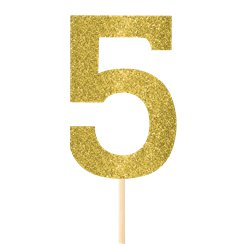 Number 5 Large Gold Glitter Pick