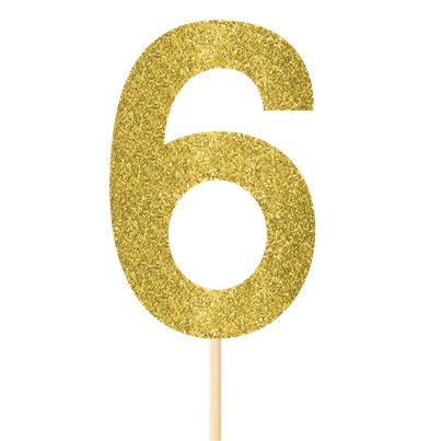 Number 6 Large Gold Glitter Pick - 36cm