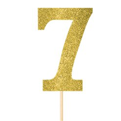 Number 7 Large Gold Glitter Pick - 36cm
