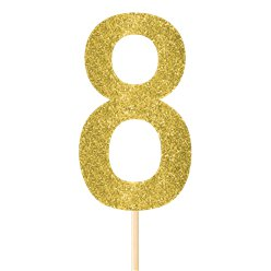 Number 8 Large Gold Glitter Pick - 36cm
