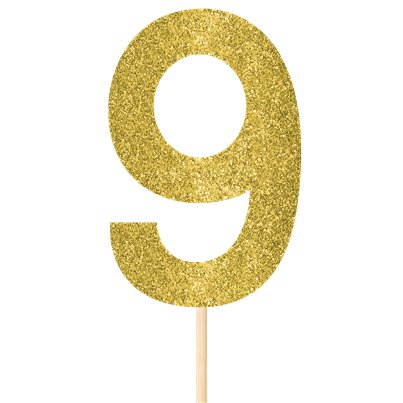 Number 9 Large Gold Glitter Pick - 36cm