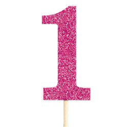 Number 1 Large Pink Glitter Pick - 36cm