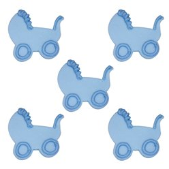 Baby's Pram Blue Sugar Toppers - Cake Decorations