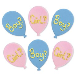 Gender Reveal Balloons Sugar Cake Toppers - 6pk
