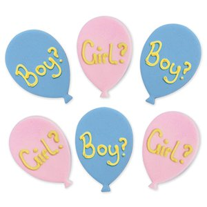 Gender Reveal Balloons Sugar Cake Toppers - Cake Decorations